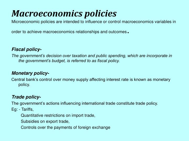 Macroeconomics policies