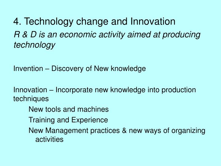 4. Technology change and Innovation