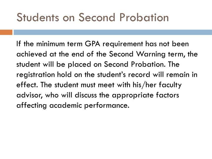 Students on Second Probation