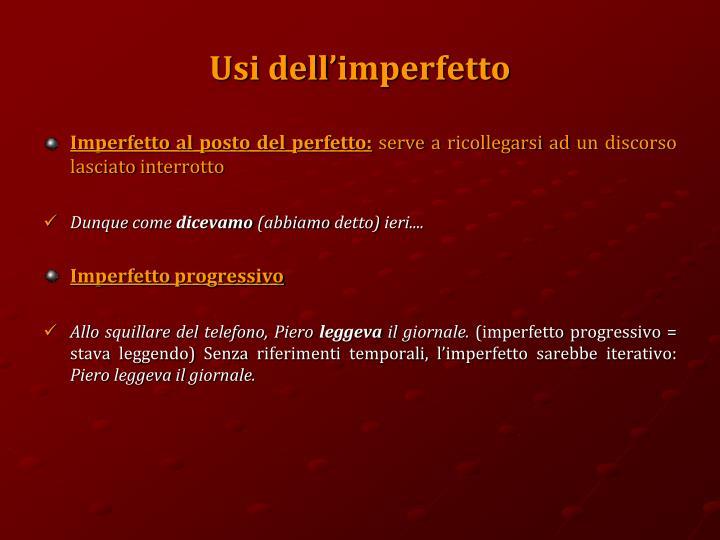 Usi dell'imperfetto