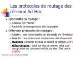 les protocoles de routage des r seaux ad hoc