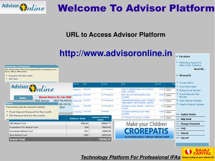 welcome to advisor platform n.