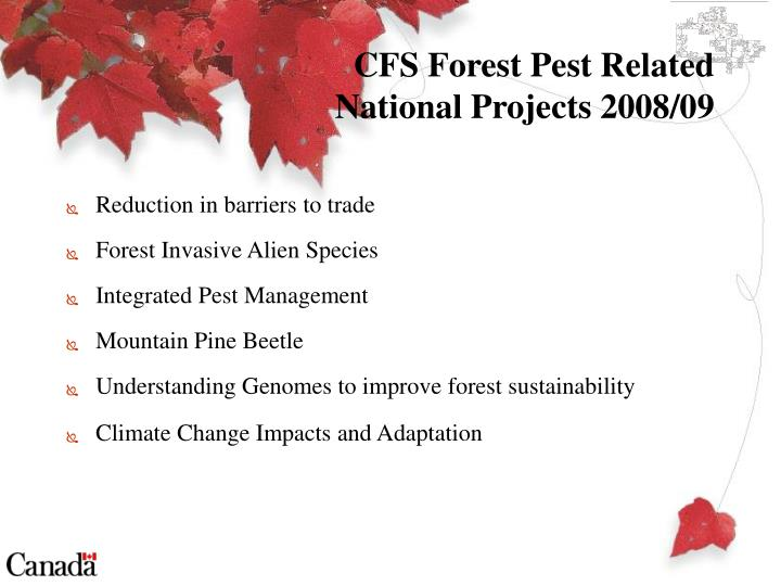 Cfs forest pest related national projects 2008 09