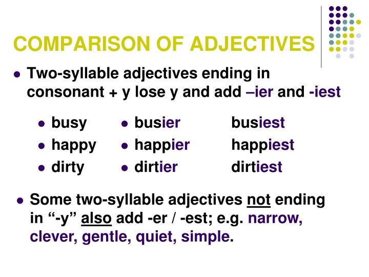comparisson of adjective Comparison of adjective degree of comparison is used when we compare one person or one thing to another an adjective has three forms called degrees of comparison.