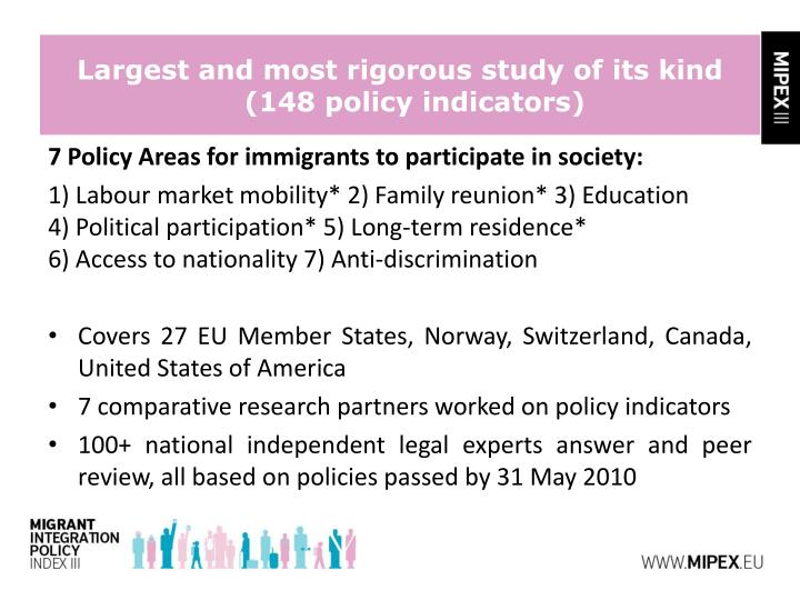 7 Policy Areas for immigrants to participate in society: