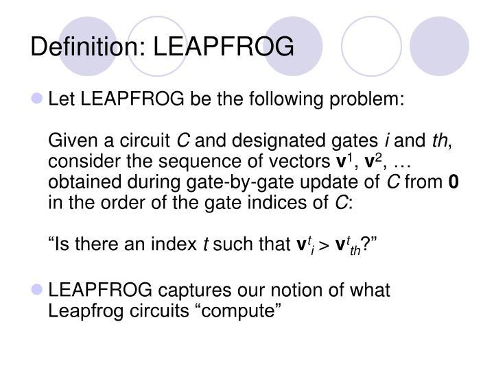 Definition: LEAPFROG