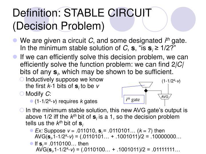 Definition: STABLE CIRCUIT (Decision Problem)