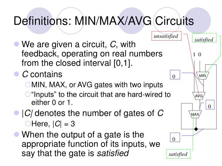 Definitions min max avg circuits