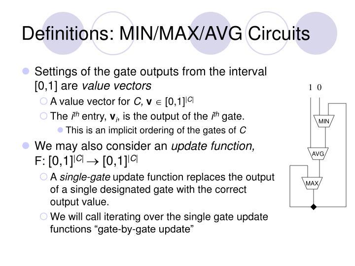 Definitions min max avg circuits1