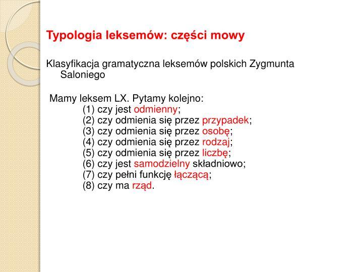 Typologia leksemów: części mowy