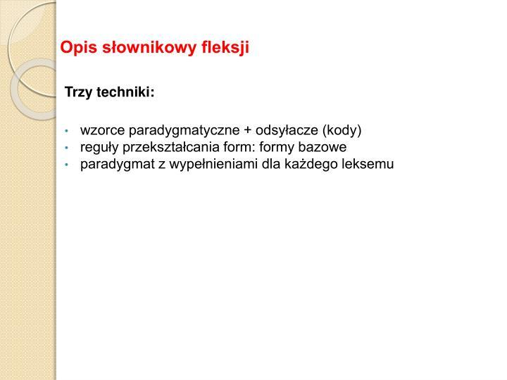 Opis słownikowy fleksji