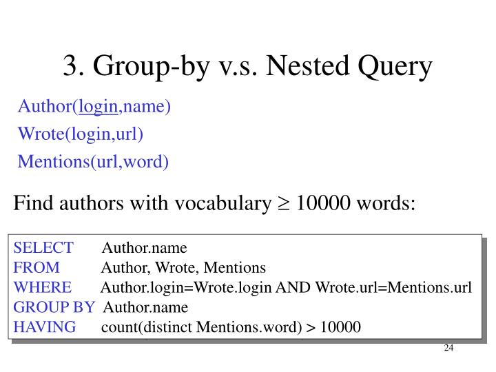 Find authors with vocabulary