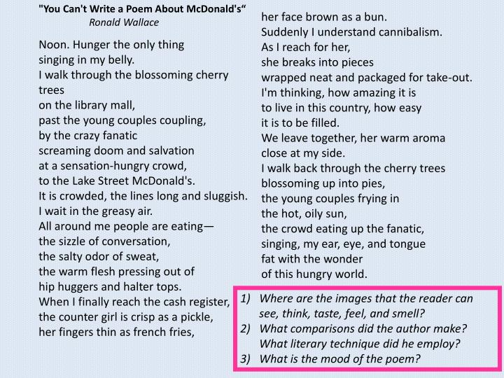 """""""You Can't Write a Poem About McDonald's"""""""