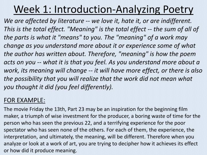Week 1 introduction analyzing poetry