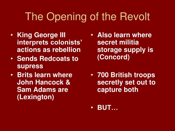King George III interprets colonists' actions as rebellion
