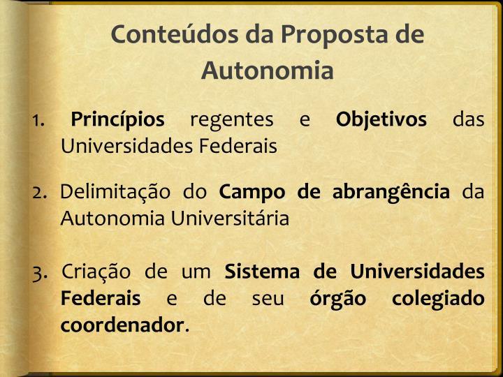 Conteúdos da Proposta de Autonomia