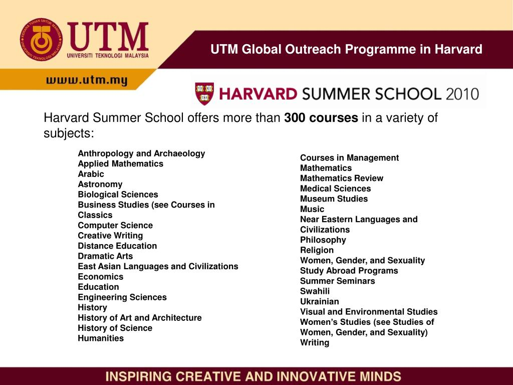 PPT - UTM Global Outreach Programme in Harvard PowerPoint