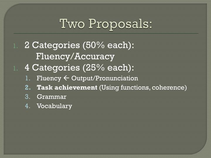 Two Proposals: