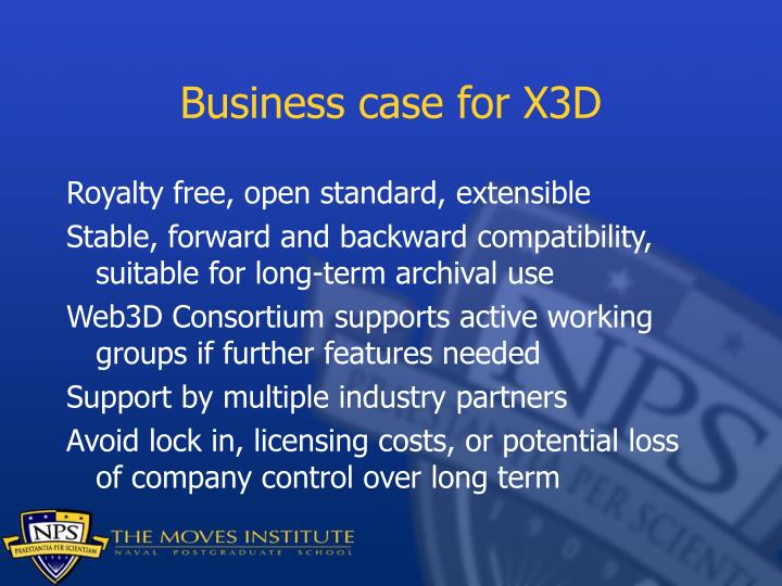 Business case for X3D