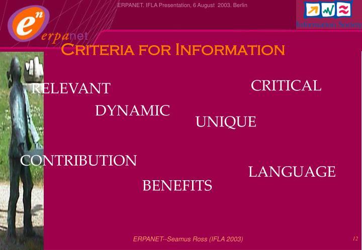 Criteria for Information