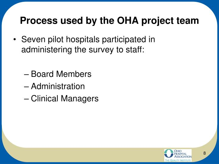 Process used by the OHA project team