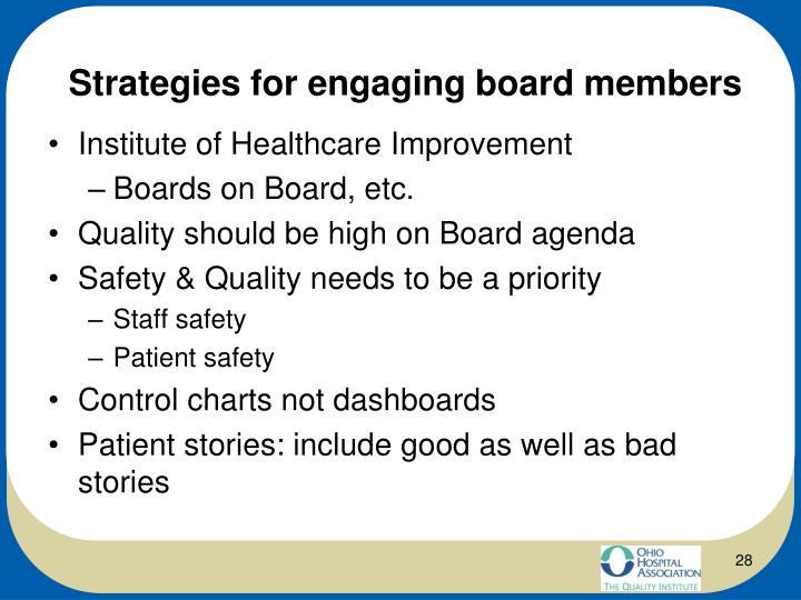 Strategies for engaging board members