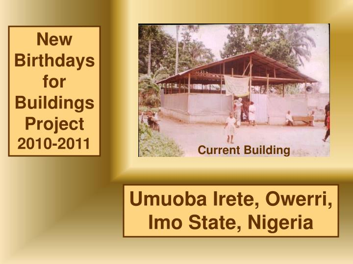 New Birthdays for Buildings Project