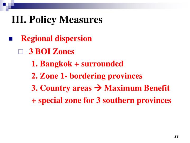 III. Policy Measures