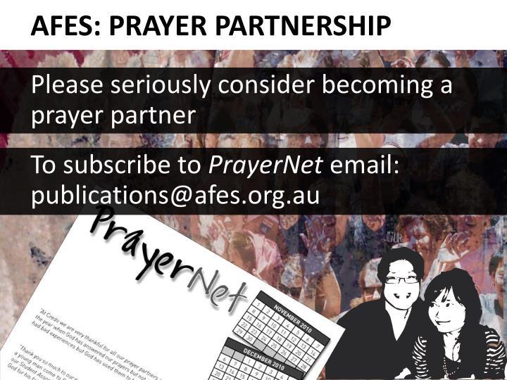 AFES: PRAYER PARTNERSHIP