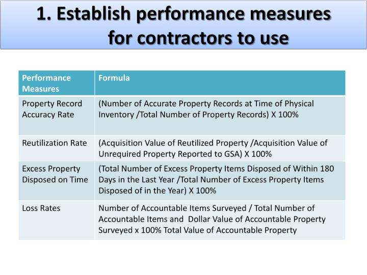1. Establish performance measures for contractors to use