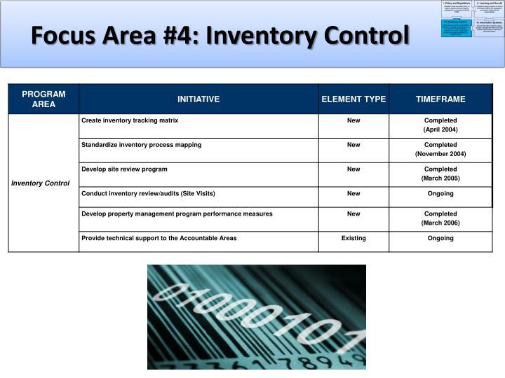Focus Area #4: Inventory Control