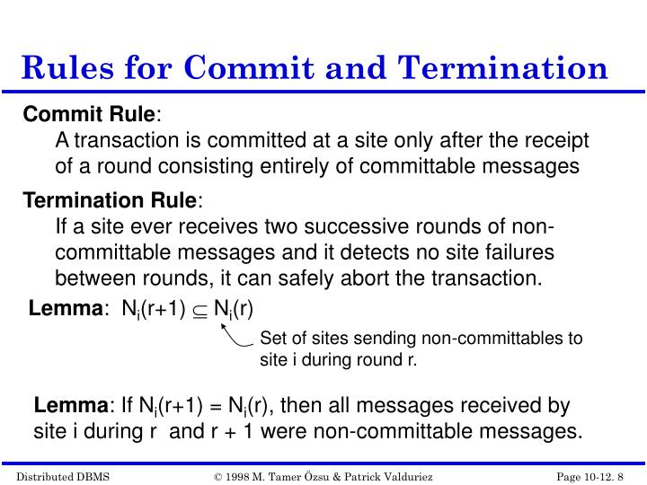 Rules for Commit and Termination