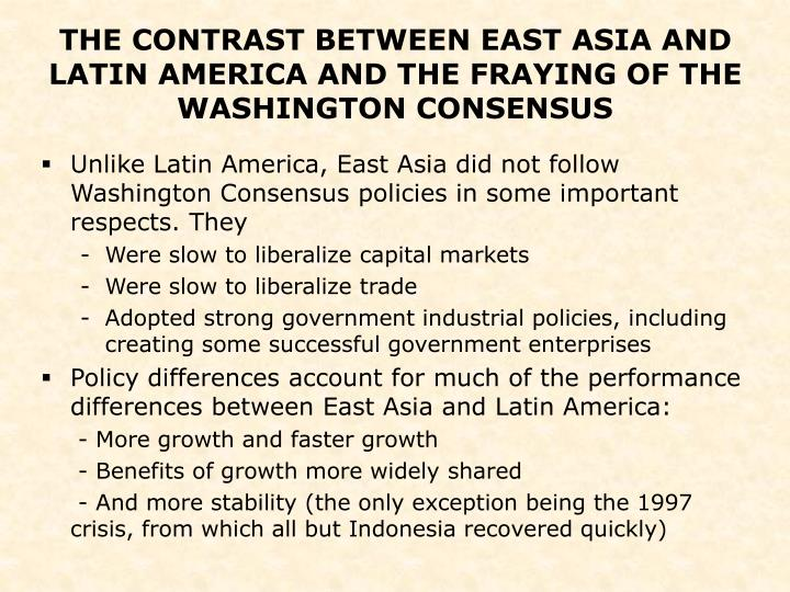 the washington consensus This chapter traces the origin of the term 'washington consensus' to a paper written for a conference in 1989 that aimed to explore how the set of ideas accepted as a basis for policy in developing countries had changed.