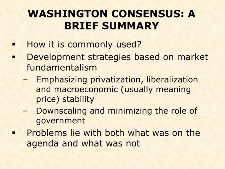 the post washington consensus development The book the new development economics: post washington consensus neoliberal thinking, jomo k s and ben fine is published by zed books.