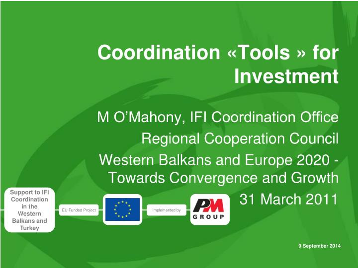 coordination tools for investment n.