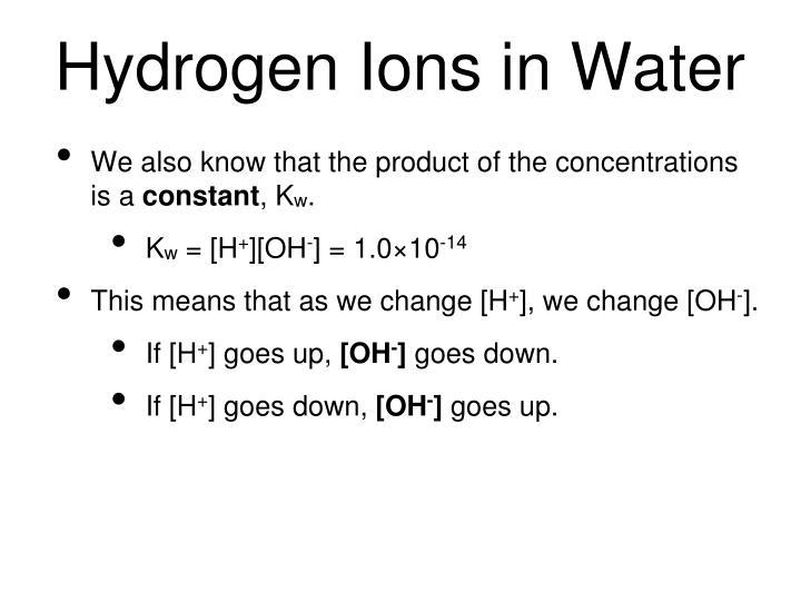 Hydrogen Ions in Water