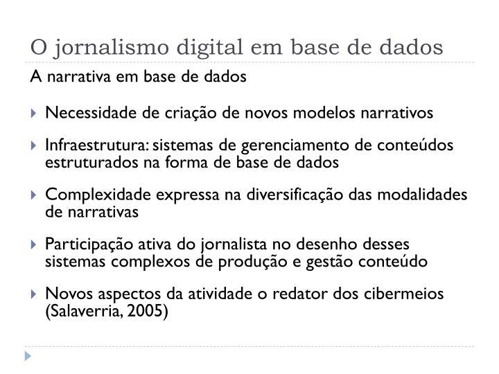 O jornalismo digital em base de dados