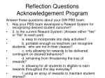reflection questions acknowledgement program