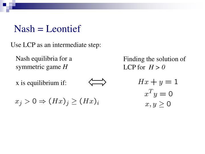 Nash equilibria for a symmetric game