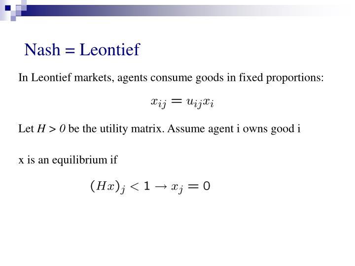Nash = Leontief
