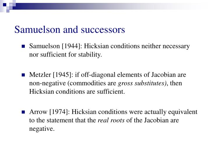 Samuelson and successors