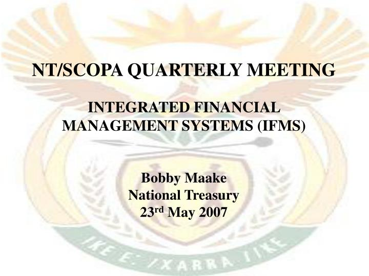 NT/SCOPA QUARTERLY MEETING