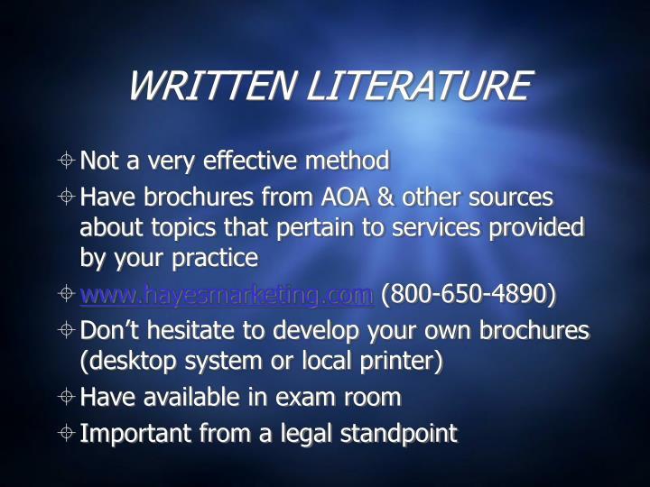 WRITTEN LITERATURE