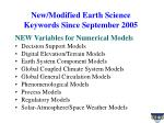 new modified earth science keywords since september 2005