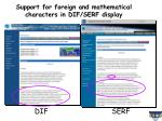 support for foreign and mathematical characters in dif serf display