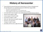 history of aerocenter
