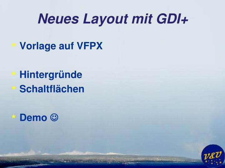 Neues Layout mit GDI+