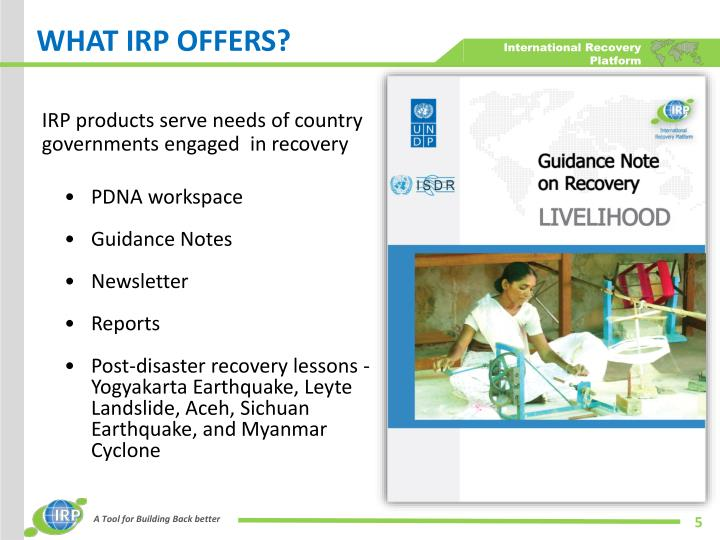 WHAT IRP OFFERS?
