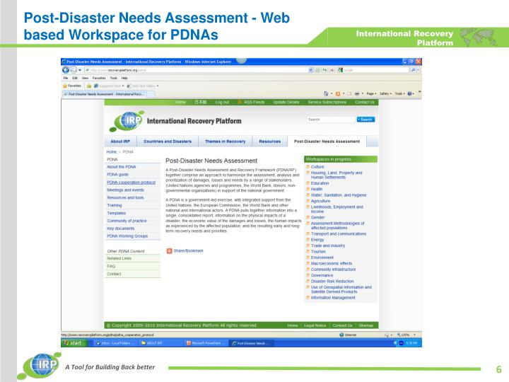 Post-Disaster Needs Assessment - Web based Workspace