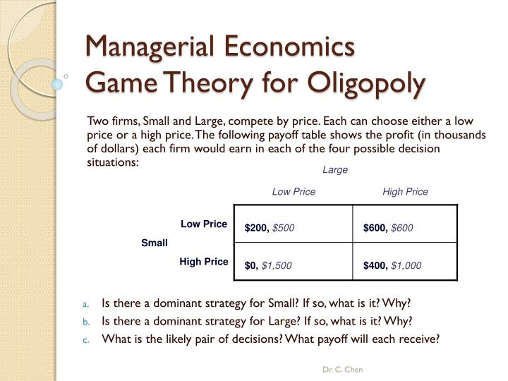 managerial economics game theory for oligopoly n.